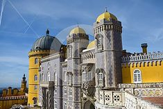 Photo about The Pena Palace from Sintra visited on a sunny day in January. Image of colorful, city, sunny - 111796972 Pena Palace, Sunny Days, Notre Dame, Sunnies, Taj Mahal, January, Europe, Colorful, Stock Photos
