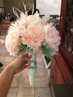 DIY Coffee filter flower bridal bouquet. Roughly $10 to make