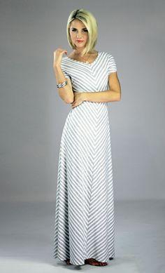 Modest Maxi Dress in Gray Stripes