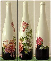 how to fabric decoupage wine bottle Wine Bottle Art, Glass Bottle Crafts, Painted Wine Bottles, Painted Wine Glasses, Bottles And Jars, Decoupage Glass, Decoupage Art, Decoupage Ideas, Jar Art
