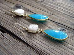 Druzy Dangle Earrings Aqua Chalcedony Teardrop by DeetabyDesign
