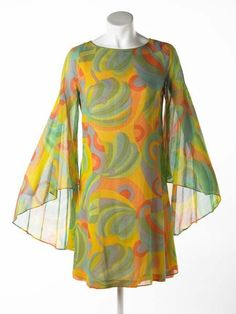 Mini-dress with winged sleeves, 1967. That color and that shape is wonderful!