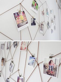 20 best DIY photo display ideas: find cool ways to display photos in your home. DIY wall art, photo frames, photo collage, bulletin boards, and more. Diy Room Decor, Wall Decor, Home Decor, Mur Diy, Photowall Ideas, Exposition Photo, Diy Casa, Ideias Diy, Diy Décoration