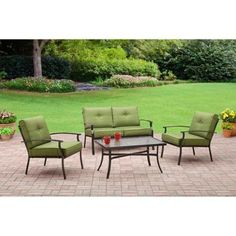 Porch Make Over  Mainstays Bryant Place 4Piece Conversation Set Green -- This is an Amazon Associate's Pin. Click the image to visit the Amazon website.