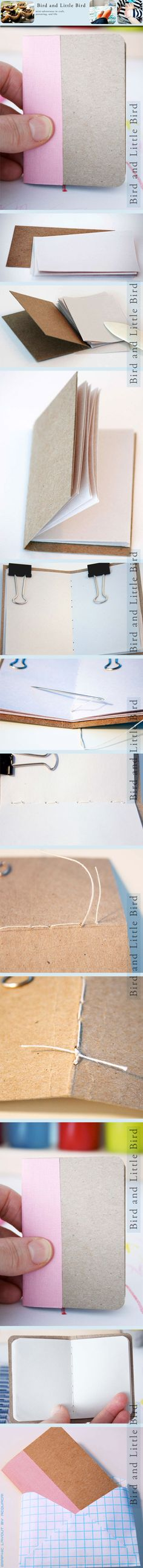 mini-book center stitched   mini libro cucito in centro   #DIY #tutorial #howtomake #faidate #comefarea