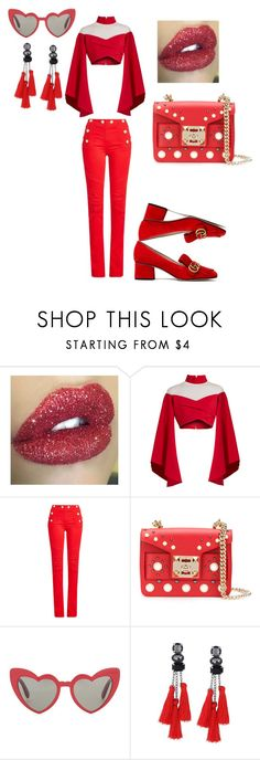 """Red Mania"" by trixievogue on Polyvore featuring Balmain, SALAR, Yves Saint Laurent and Gucci"