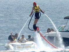 Joey Essex tried his hand at a water jet pack while on holiday in Marbella