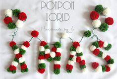 Pompom garland, Xmas letters, Colorful Xmas, Pom pom garland, White-Red-Green, Wall decor, Christmas decoration, Xmas decor,