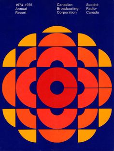 Burton Kramer, logo for the Canadian Broadcasting Corporation 1974 (seen here on the 74/75 Annual Report)