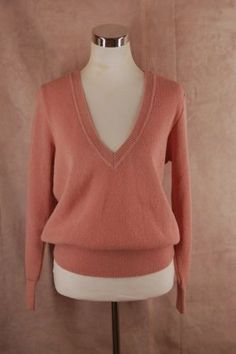 Peruvian Connection 100% Alpaca Sweater M Rose Pink V-neck Pullover - Upcycled Couture