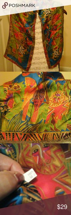 "New, 100 % Silk Scarf , Parrots, Animals , African Brand New, 52"" long 100 % Silk Scarf , African Accessories Scarves & Wraps"