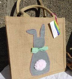Easter gift bags bunny rabbits my work jennyeddendesigns easter gift bags bunny rabbits hessian shopping bag with felt easter bunny with fluffy tail medium 700 negle Images