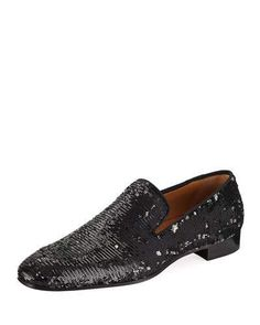 aa7a129a011 Christian Louboutin Dandelion Men s Paillette-Embellished Red Sole Loafer  Red Sole