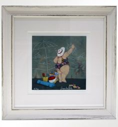 """Lisandro Rota (1946), """"Spiaggia perfetta a Km zero"""" Giclée ritoccata a mano, cm 17,5X17,5 cm (+ cornice 37X37) tiratura 200 es.  € 100,00 cornice artigianale inclusa"""