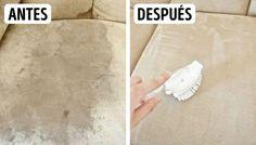 Sofá de microfibra Necesitarás: Esponja. Un frasco de alcohol isopropílico. Cepillo. Bicarbonato. Aplicación:Aplica una pequeña cantidad de alcohol sobre la esponja y frota las manchas. Con ayuda del cepillo, ordena las vellosidades del tapizado. Para deshacerte del olor desagradable, aplica una pequeña cantidad de bicarbonato.