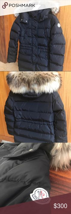 Pre-owned Moncler Jacket for girls in size 10. Moncler Down Jacket for girls in size 10 or 140 cm - Stand collar with removable natural fur hood. - Removable hood and fur. - Front zip with snap closure. This Jacket is in good condition but has a few signs of wearing (the scratch on the fabric inside) as you can see on the last pictures.  Let me know if you need more pictures. Moncler Jackets & Coats