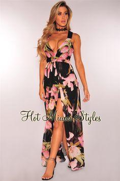 3f3375899856 Black Floral Print CrissCross Back Slit Maxi Dress