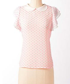 Take a look at this Hot Pink & White Polka Dot Peter Pan Top by Down East Basics on #zulily today!
