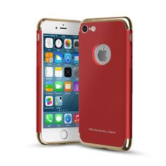 "iPhone 7 Case, MINIMALISM 3 in 1 Electroplate Frame Anti-Scratch Shockproof Matte Premium Design Coated Surface with Excellent Grip Case for iPhone 7 (4.7""), Red. MINIMALISM 3 in 1 Electroplate Frame case combines elegant colors and design with functional features for you.Combine by 1 scrub PC back panel & 2 metal texture PC bumper. Special processed painting craft makes the electroplate frame durable. Scratch resistant, anti-slip. Premium Protect: thicken hole 0.3mm design and rubberized..."