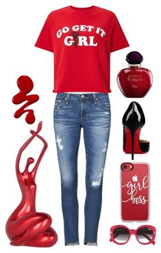 Girl pride by amisha73 on Polyvore featuring moda, Miss Selfridge, AG Adriano Goldschmied, Christian Louboutin, Casetify, Quay, Christian Dior, womensHistoryMonth, pressforprogress and GirlPride