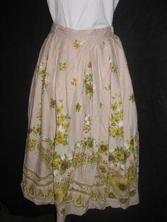 Vintage 1970s Floral Patterned Skirt