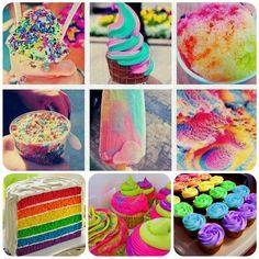 rainbow wedding cakes and food