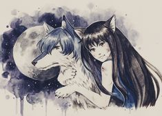 Ame and Yuki in their wolf forms with full moon from Wolf Children Wolf Children Ame, The Wolf Among Us, Beautiful Film, Furry Drawing, Animation, Anime Style, Werewolf, Anime Manga, Cartoon