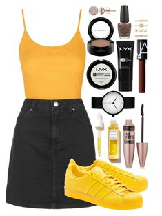 """Yellow"" by maritkrijt ❤ liked on Polyvore featuring Topshop, adidas Originals, Maybelline, Rodin, NYX, NARS Cosmetics, MAC Cosmetics, OPI and Forever 21"