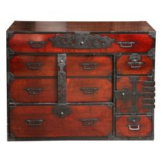 View this item and discover similar for sale at - A Japanese Tansu cabinet or chest in dark finish, with metal trim and pulls and hinges. Antique Cabinets, Modern Cabinets, Furniture Storage, Furniture Design, Space Saving Bedroom, Japanese Bathroom, Japanese Furniture, Antique Boxes, Metal Trim