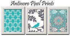 Turquoise Grey Ikat / Bird  Print Vintage / Modern inspired Art  -Set of 3 - 8 x 11 Prints - Turquoise White Color (UNFRAMED). $35.00, via Etsy.
