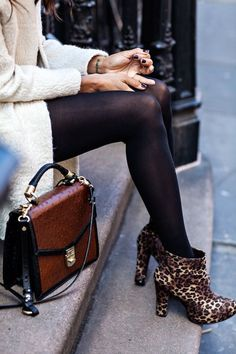 Style Inspiration: November Warmth I like the idea of the black hose with leopard ballet flats, and then something ivory on top, plus the burgundy purse