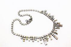 Art Deco Sparkly Diamante Rhinestone Fringe Sparkly Necklace with Safety Chain (c1930s) - Wedding by GillardAndMay on Etsy