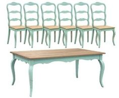 Amazon.com: Turquoise French Dining Table Set (1 Table 6 Chairs): Home & Kitchen