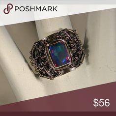 Australian Opal 925 Sterling Silver Ring Australian Opal 925 Sterling Silver Ring. Size 7,5 Jewelry Rings