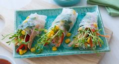 Get creative in the kitchen with this recipe for homemade Sweet Chilli Tuna Rice Paper Rolls! Low Sugar Recipes, Tuna Recipes, High Protein Recipes, Good Healthy Recipes, Seafood Recipes, Asian Recipes, Vegetarian Recipes, Ethnic Recipes, Keto Recipes