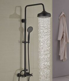 Douglas Oil Rubbed Bronze Wall Mounted RainFall Showerset with Over Head Shower & Handheld Shower – Funitic - Modern Master Bathroom Shower, Bronze Bathroom, Bathroom Faucets, Bathroom Ideas, Bathroom Renovations, Bathroom Shower Designs, Bronze Shower Head, Shower Ideas, Bathrooms