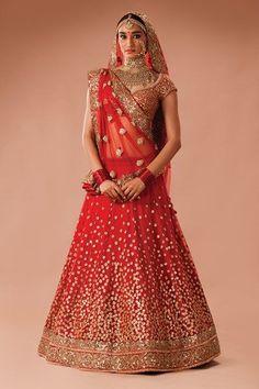 Image result for sabyasachi red wedding lehenga