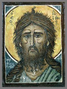 John the Forerunner (Detail) Iconographer Photis Kontoglou Byzantine Icons, Byzantine Art, Orthodox Christianity, John The Baptist, Orthodox Icons, Mosaic Art, Saints, Drawings, Artwork