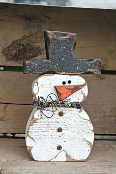 Wood Snowman Decor, Primitive Shelf Sitter Snowman