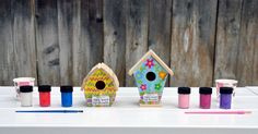 Birdhouses - so cute DIY kids project using paint! Fun for a summer craft! #plaidcrafts