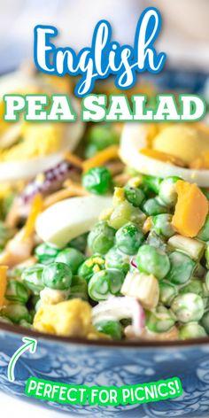 English Pea Salad, English Peas, Vegetable Side Dishes, Vegetable Recipes, Recipe For Vegetable Salad, Cold Vegetable Salads, Soup And Salad, Pasta Salad, Shrimp Avocado Salad