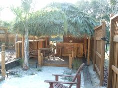Ocala Florida Tiki Hut & Bar - 20' x 12 Tiki hut, 8' Red Cedar Tiki Bar, electric, 4 outlets, stereo, cable tv, ceiling fan & light kit, rope lighting, ice maker, wine fridge, red oak plywood upper & lower bar tops, cabinets, 4 bar stools,footrest, Side rail with additional Bar top. 10x10 Tiki Hut & deck for an outdoor bedroom.  Full photo album can be seen here: https://www.facebook.com/tikikev/photos_albums  For more info: www.tikikev.com or 800-792-8454 , email: tikikev@tikikev.com
