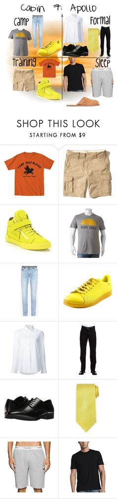 """Cabin 7: Apollo"" by flowergirl487 on Polyvore featuring Hollister Co., Giuseppe Zanotti, SONOMA Goods for Life, Maison Margiela, adidas, Misha Nonoo, Dockers, Stacy Adams, Charvet and Calvin Klein"