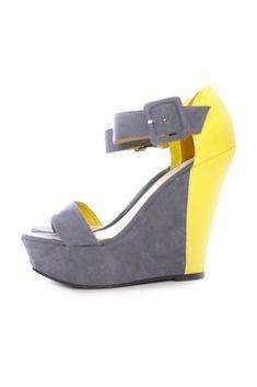 Color-Block Platform Wedge Sandals
