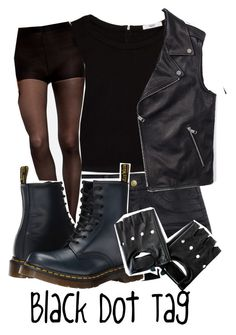 """""""Black Dot Tag"""" by thepenguinprincess ❤ liked on Polyvore featuring H&M, MANGO, Dr. Martens and Tommy Hilfiger"""