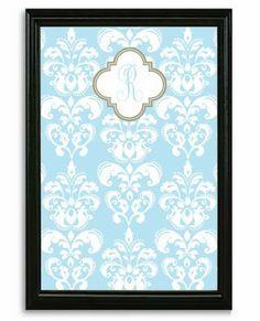 Blue Damask Framed Magnetic Board