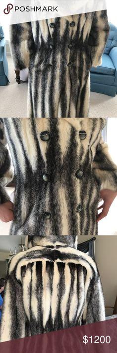 MINK FUR COAT Real Mink Fur Coat - Black & White Jackets & Coats