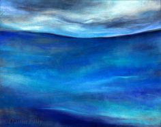 Seascape metal print of cobalt, teal, turquoise, blue original fine art pastel painting by Kauai, Hawaii artist Donia Lilly: Andrew's Ocean