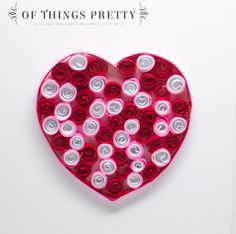 Quilled Valentines Day Card Red and Pink Heart  by ofthingspretty, $9.50