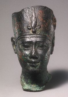 Head of Ptolemy II or III, Ptolemaic Period, reign of Ptolemy III Euergetes, ca. 246–221 b.c.  Egyptian  Bronze